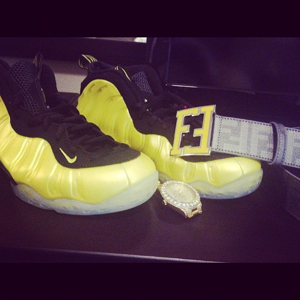 meek-mill-nike-air-foamposite-one-electrolime-rolex-fendi-belt