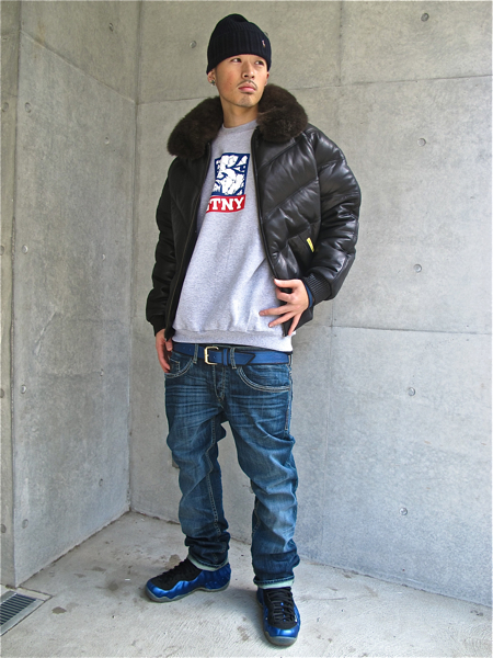dicey-the-kid-double-goose-v-bomber-black-jacket-gtny-crewneck-nike-air-foamposite-royal-blue
