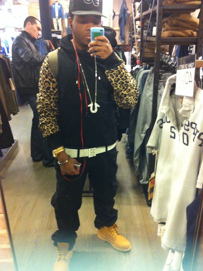 true-real-duckie-confetti-leopard-hoodie-fendi-belt-timbs