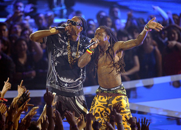 Lil-Wayne-2-Chainz-VMA-2012-Givenchy-Black-Shark-Jaw-Shirt-Splashy-Splash