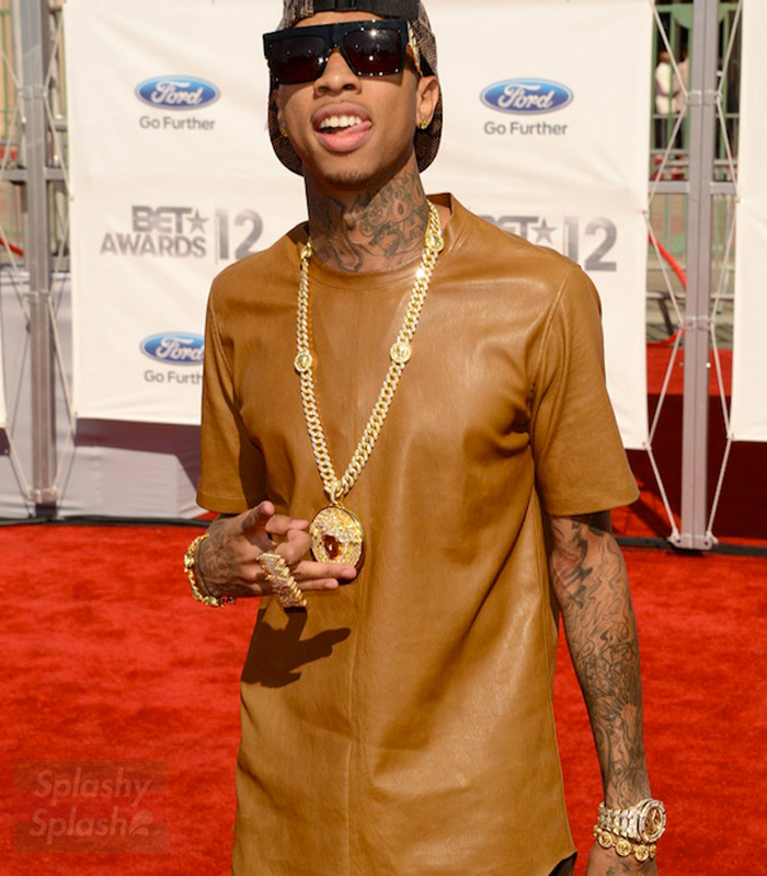 Tyga-Dior-Homme-brown-Nappa-Leather-Stretch-short-sleeve-shirt-ss-2012-BET-Awards-Red-Carpet-audemars-piguet-gold-versace-pendant
