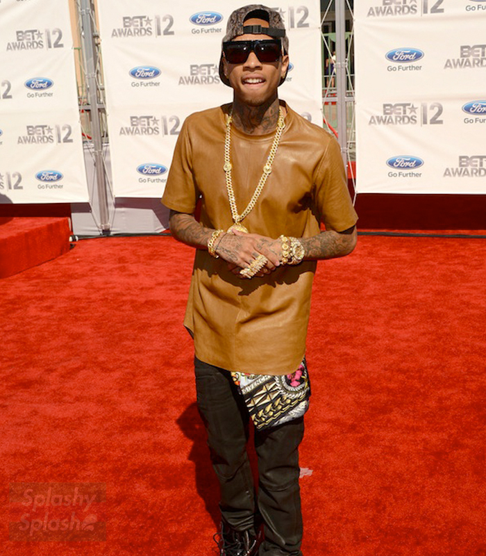 Tyga-Dior-Homme-brown-Nappa-Leather-Stretch-short-sleeve-shirt-ss-2012-BET-Awards-Red-Carpet-iced-out-ap