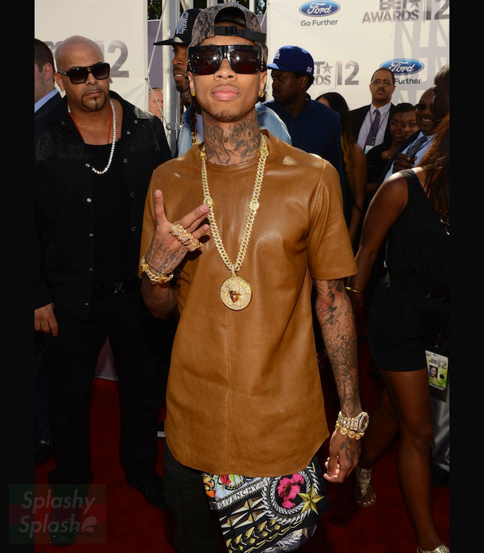 Tyga-Dior-Homme-brown-Nappa-Leather-Stretch-short-sleeve-shirt-ss-2012-BET-Awards-Red-Carpet-versace-pendant-audemars-piguet