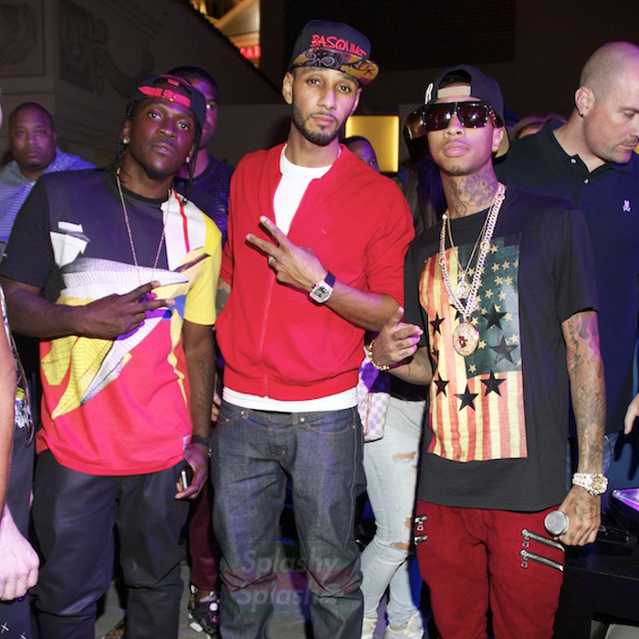 Tyga-Swizz-pusha-t-givenchy-us-flag-and-stars-shirt-balmain-homme-double-zip-pocket-biker-jeans-splashy-splash