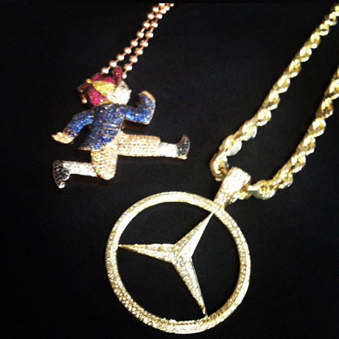 Pusha t iced out mercedes benz chain by ben baller for Mercedes benz pendant