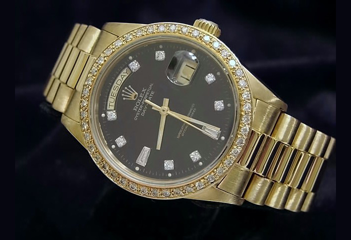 Rolex-Day-Date-18k-Yellow-Gold-Black-Dial-Diamond-Bezel