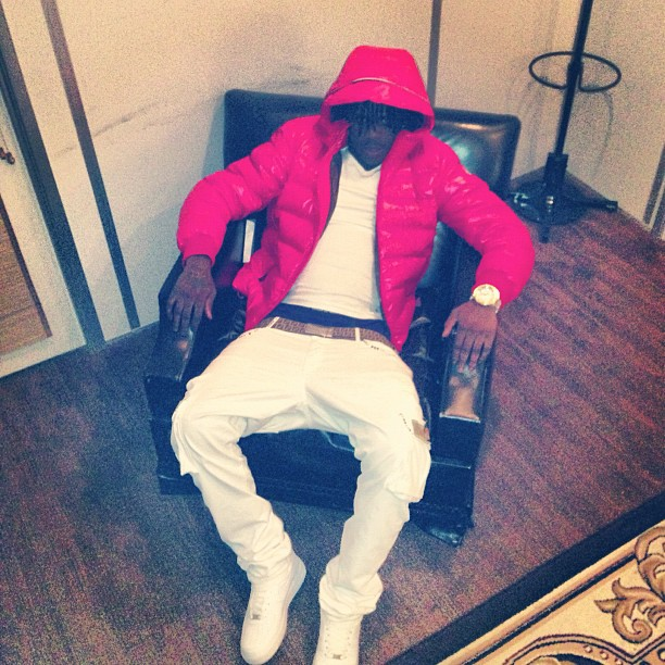 5feed6697 Chief Keef Wearing Moncler Maya Jacket & Fendi Belt | Splashy Splash
