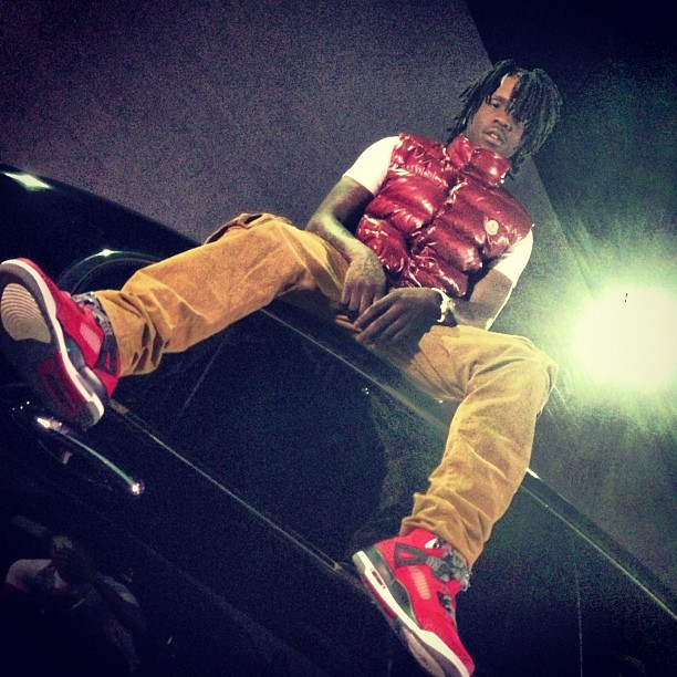 chief-keef-red-moncler-tib-quilted-down-vest-jordan-gym-red-spizike-kobe