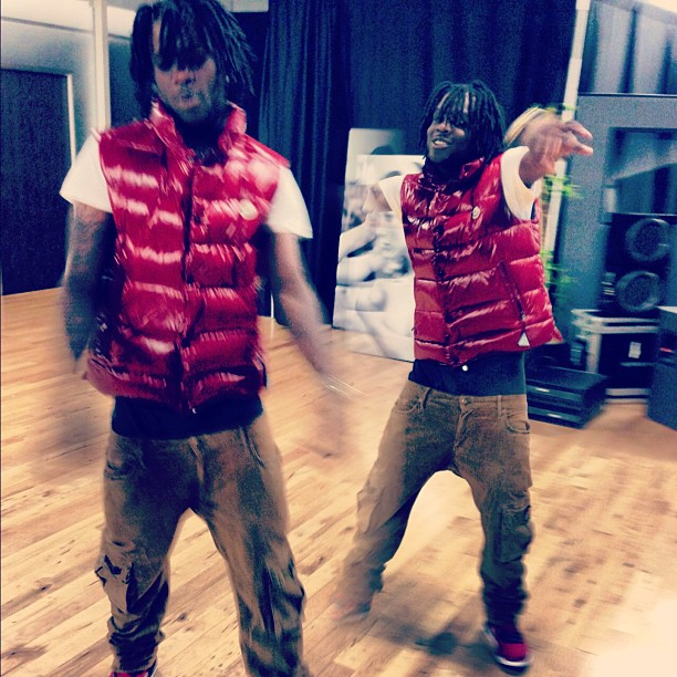 chief-keef-red-moncler-tib-quilted-down-vest-jordan-gym-red-spizike-robin-jeans