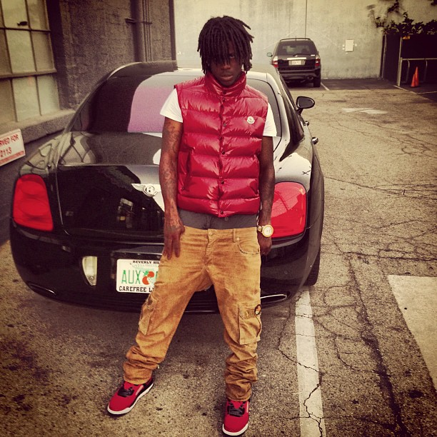 Chief Keef Wearing Red Moncler Tib Quilted Down Vest