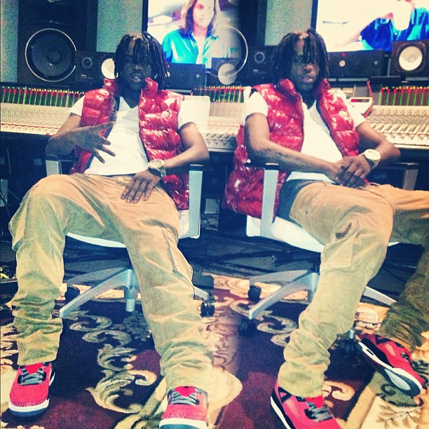 chief-keef-red-moncler-tib-quilted-down-vest-jordan-gym-red-spizike-robins-jeans