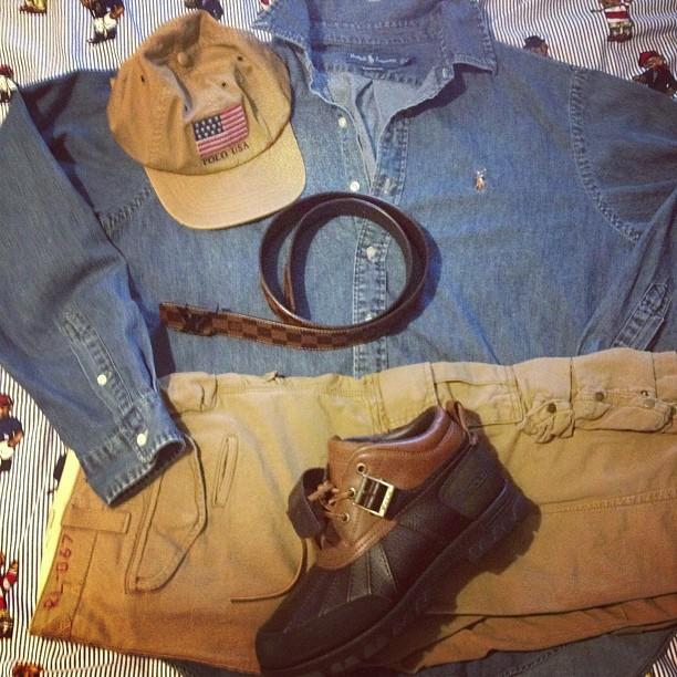 jarvis508-polo-ralph-lauren-usa-flag-hat-cargo-pants-denim-button-up-louis-vuitton-initiales-belt