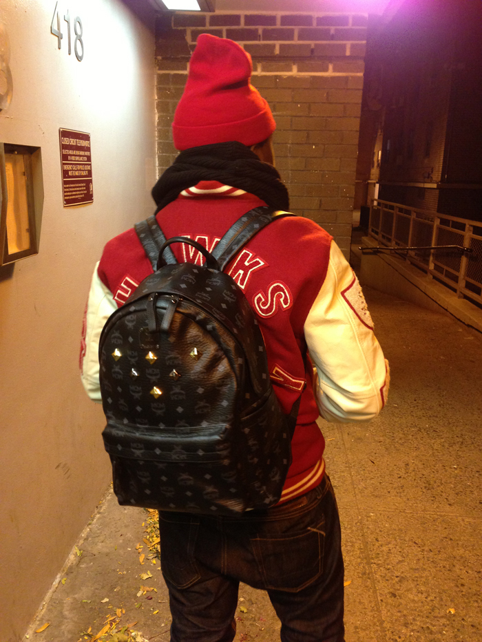 tru-real-true-religion-red-varsity-letterman-jacket-mcm-black-leather-stark-bag-backpack