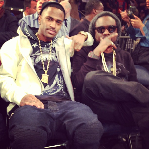 b39babe99c3 Big Sean   Wale Wearing Givenchy Hoodie at a Knicks Game