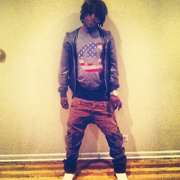 chief-keef-gucci-leather-hooded-bomber-gucci-usa-flag-shirt-3