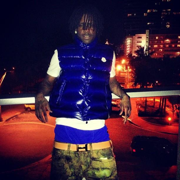 chief-keef-moncler-beanie-hat-moncler-tib-vest-blue-hermes-belt-true-religion-camo-pants-2