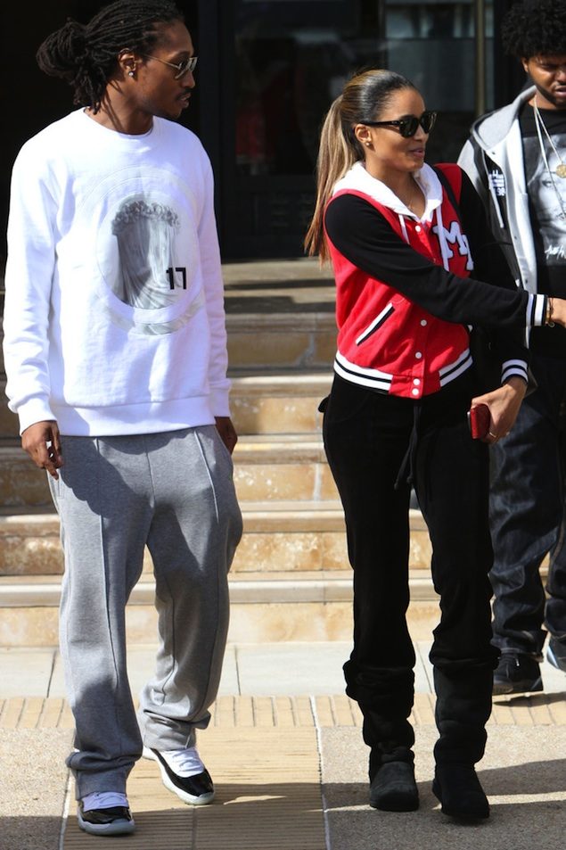 Future-givenchy-virgin-mary-sweatshirt-Air-Jordan-Retro-11-XI-white-black-concord-sneakers-out-shopping-in-LA-ciara