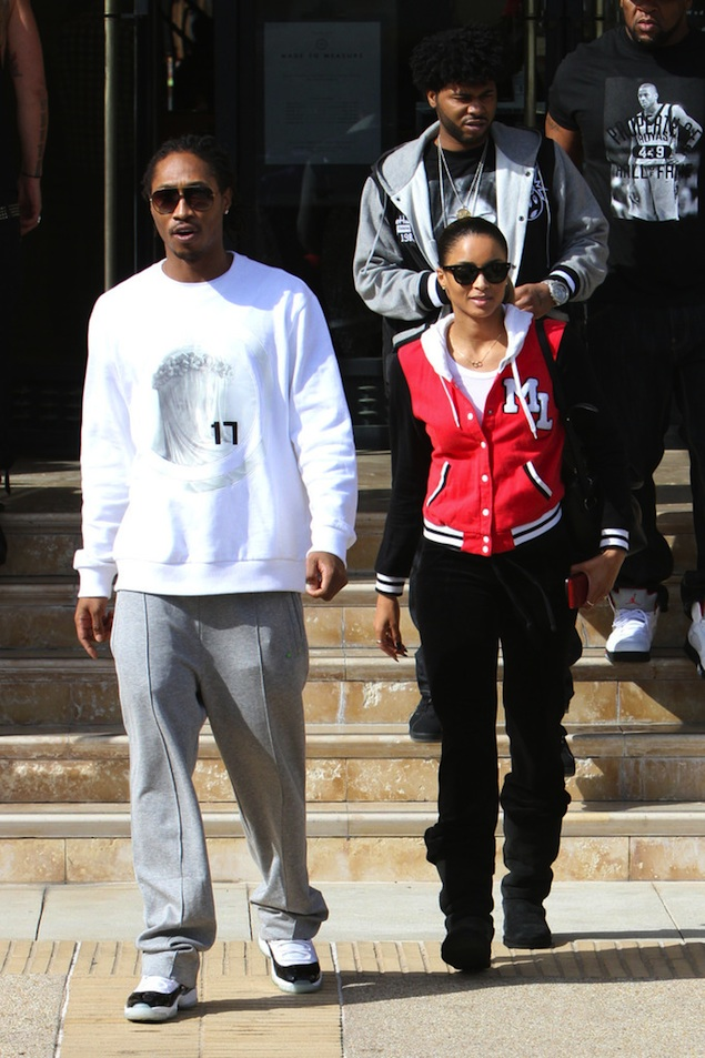 Future-givenchy-virgin-mary-sweatshirt-Air-Jordan-Retro-11-XI-white-black-concord-sneakers-out-shopping-in-LA