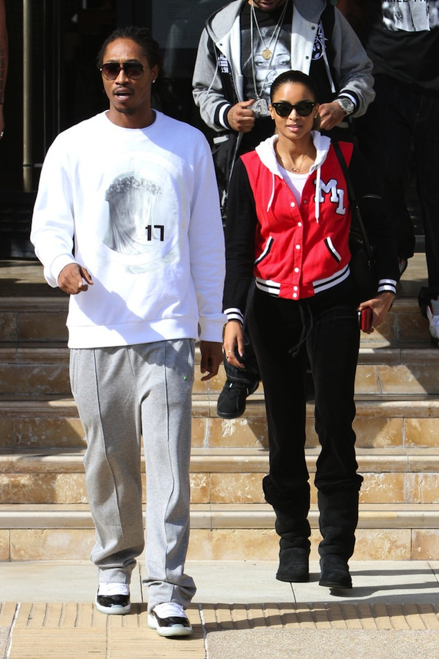Future-wearing-givenchy-virgin-mary-sweatshirt-Air-Jordan-Retro-11-XI-white-black-concord-sneakers-out-shopping-in-LA-ciara