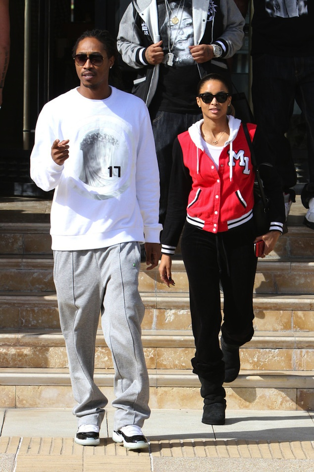 Future-wears-givenchy-virgin-mary-sweatshirt-Air-Jordan-Retro-11-XI-white-black-concord-sneakers-out-shopping-in-LA