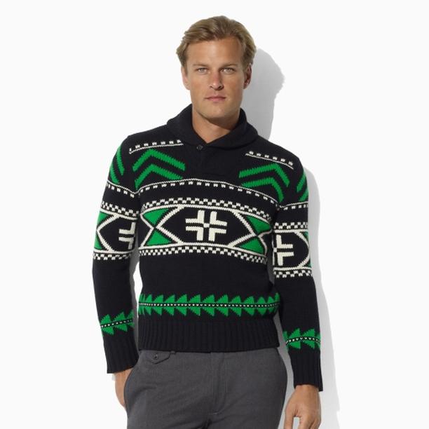 polo-ralph-lauren-black-green-wool-shawl-pullover-sweater