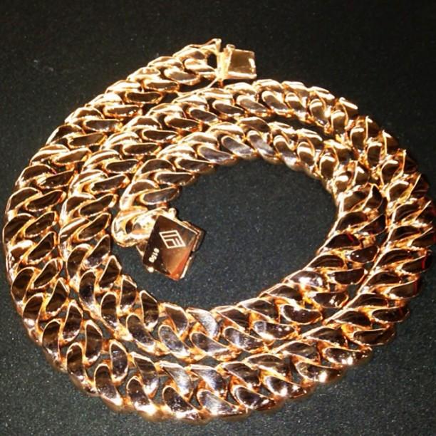 3747462ddf040 Scaff Beezy IF & CO Rose Gold Miami Cuban Link Chain Splash ...