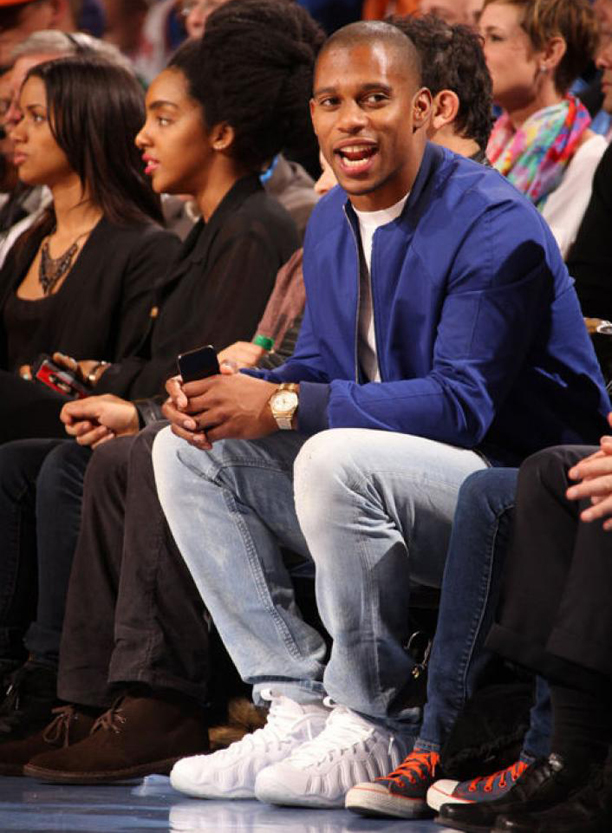 afc6ba8b9d3 Victor Cruz Wearing His Nike Air Foamposite One White Out On Feet Early