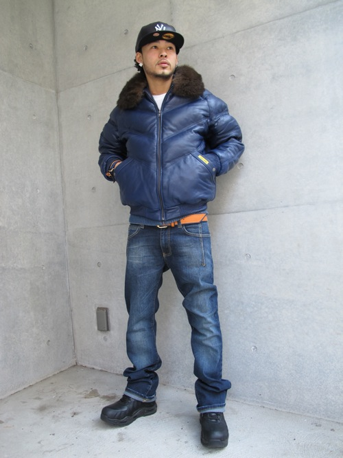Blue Leather Double Goose V Bomber Jacket Splash Splashy