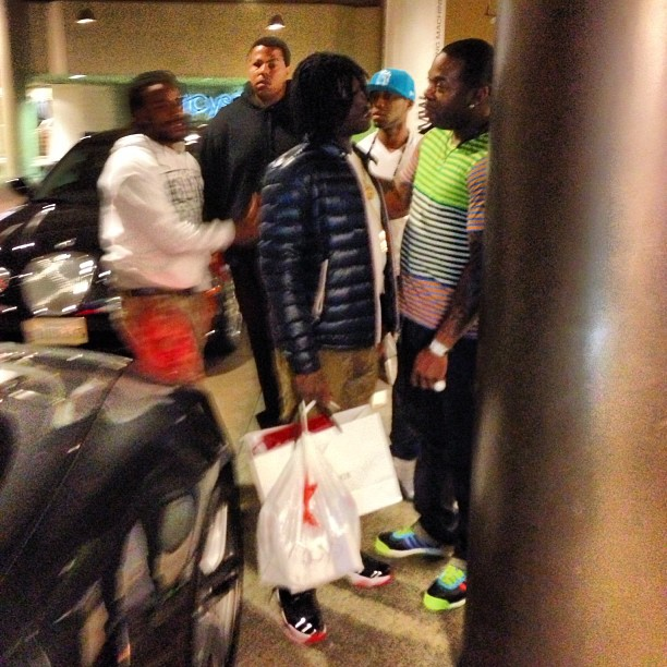 chief-keef-jordan-11-bred-moncler-jacket-busta-rhymes