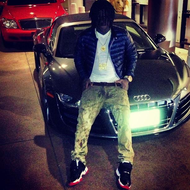 Chief Keef Wearing Jordan 11 Bred On Feet Moncler Jacket