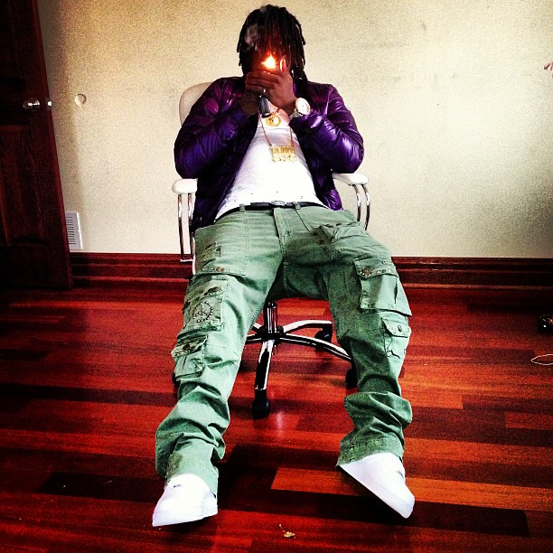 chief-keef-moncler-purple-jacket-versace-belt-robin-jeans-cargo-pants-nike-air-force-one-af1