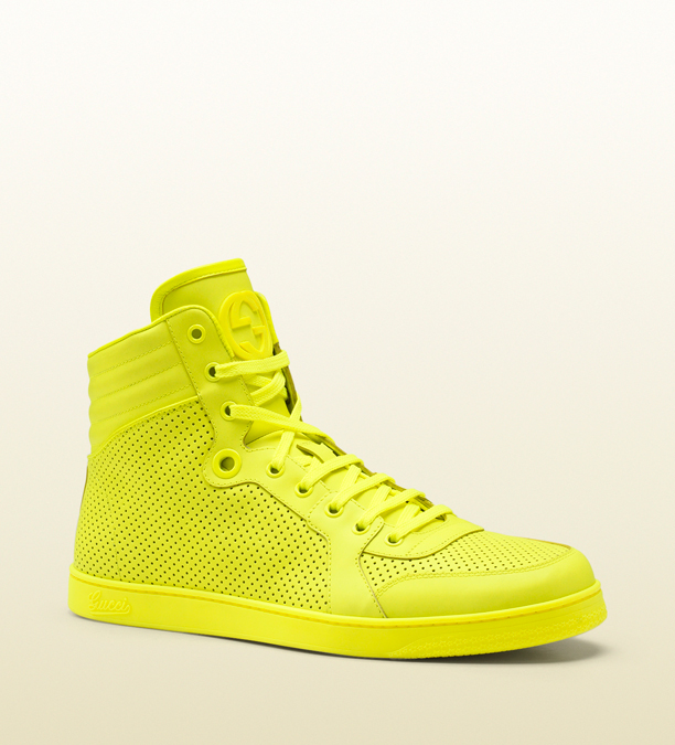 gucci-neon-leather-yellow-high-top-sneaker