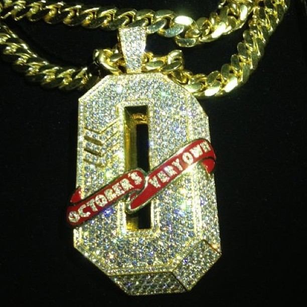 october s own ovo iced out o initial pendant