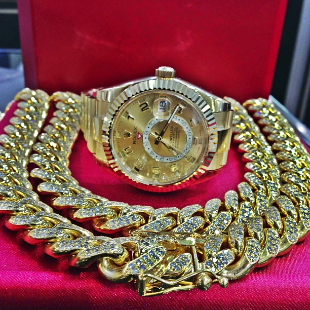 jr-smith-iced-out-cuban-link-yellow-gold-rolex-sky-dweller