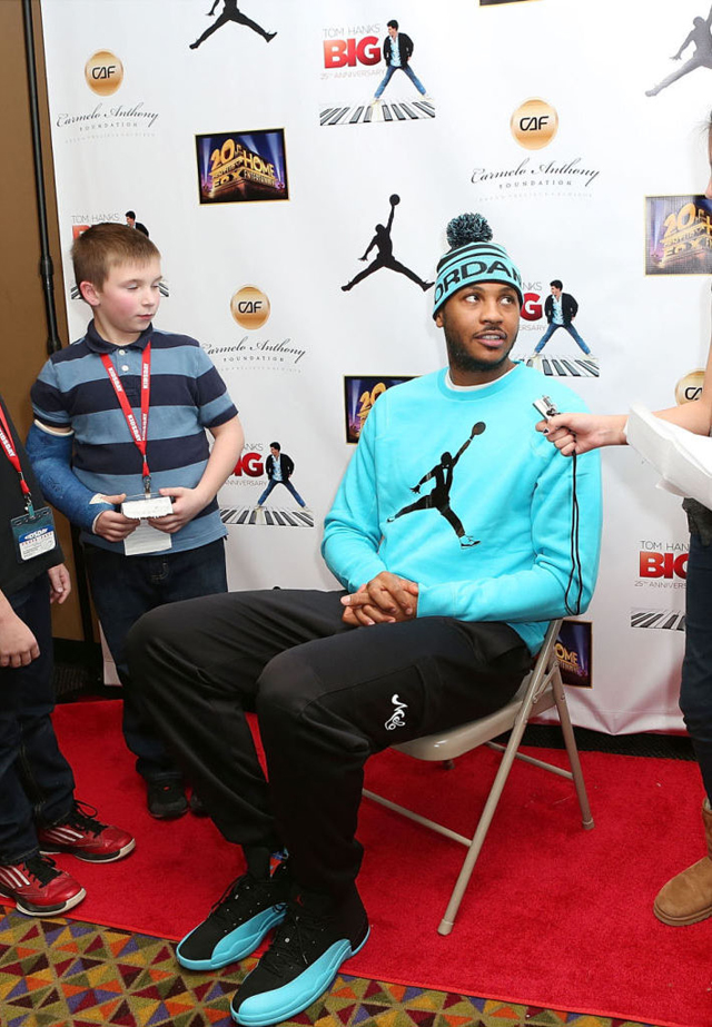 5c782bf82ba1 Carmelo Anthony wearing Air Jordan 12 Gamma Blue On Feet