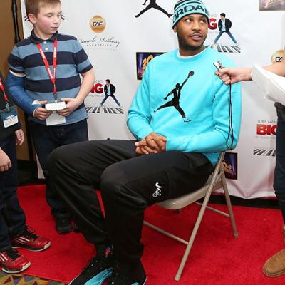 f9a1733c80c3 Carmelo Anthony wearing Air Jordan 12 Gamma Blue On Feet