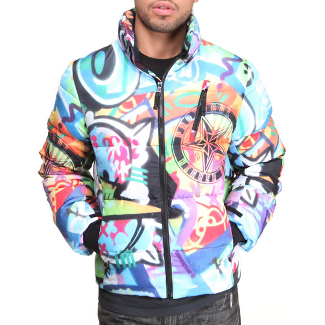 Juelz Santana Rocking Protocol Graffiti Bubble Jacket Ysl