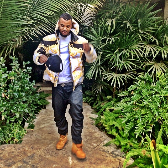 the-game-versace-white-gold-quilted-feather-duster-bomber-jacket-timberland-boots-timbs