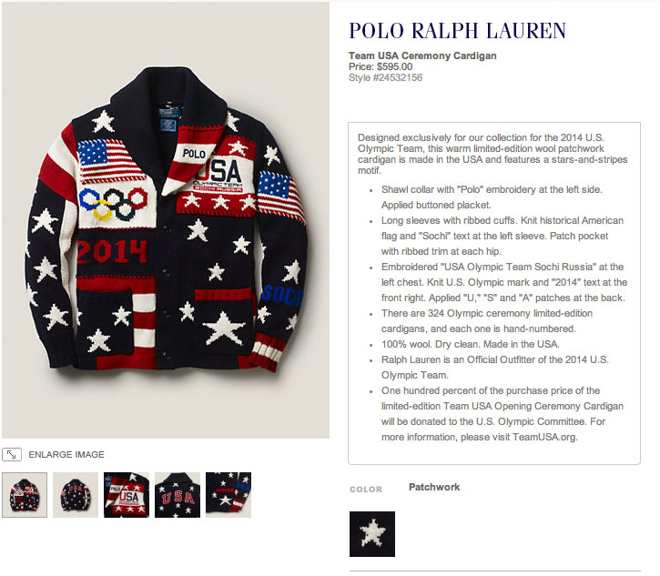Just Blaze was looking fresh in that Polo Ralph Lauren Team USA Olympic Ceremony Cardigan, USA Flag Beanie and RLX Team USA Sochi T-Shirt.