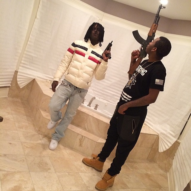 chief-keef-moncler-striped-menuire-jacket-ballout-glo-gang-shirt-ak-47-mac