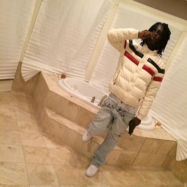 79161e612615 Chief Keef wearing Moncler Striped Technical Menuire Sport Jacket ...