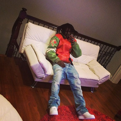 Chief Keef wearing Pelle Pelle Renegades Fire Orange Plush Leather Jacket