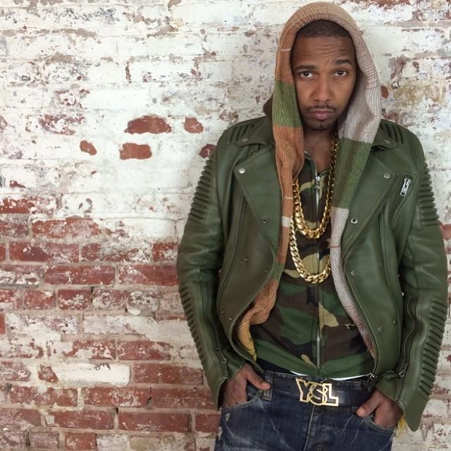 juelz-santana-godspeed-new-york-leather-moto-jacket-olive-green-ysl-belt
