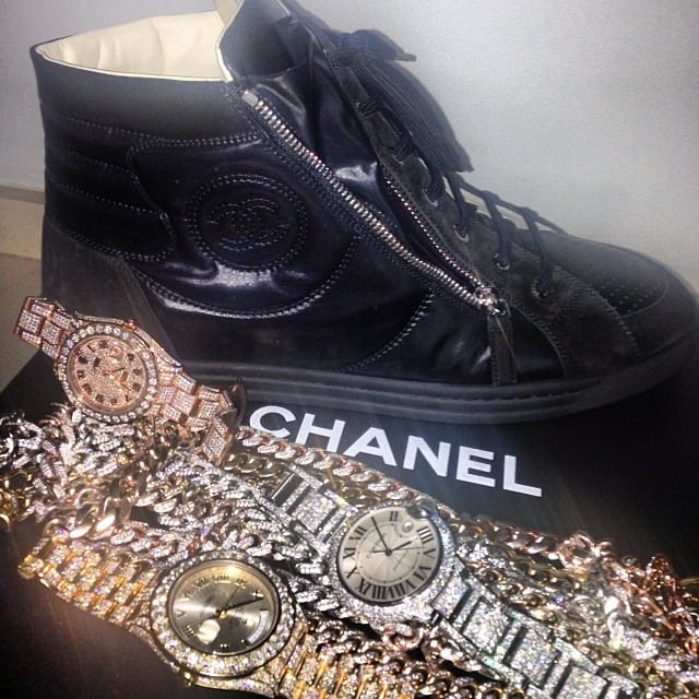 french-montana-chanel-sneakers-rolex-datejust-2-day-date-cartier-ballon-bleu-watch