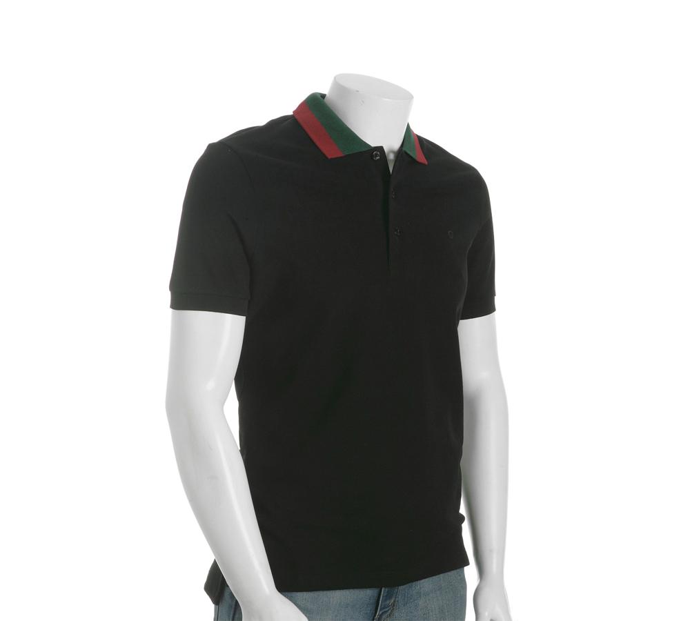 e3dc2a31b Gucci Black Pique Web Striped Collar Polo Shirt ($295)