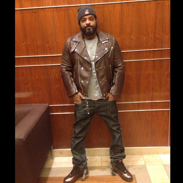 jim-jones-godsofmankind-godspeed-brown-leather-moto-jacket-nike-bhm-black-history-month-copper-foamposites-on-feet
