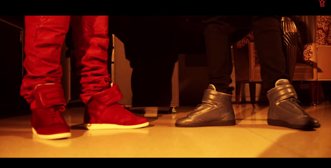 young-thug-maison-martin-margiela-high-top-sneakers-on-feet-red-calf-hair-gold-copper-givenchy-video