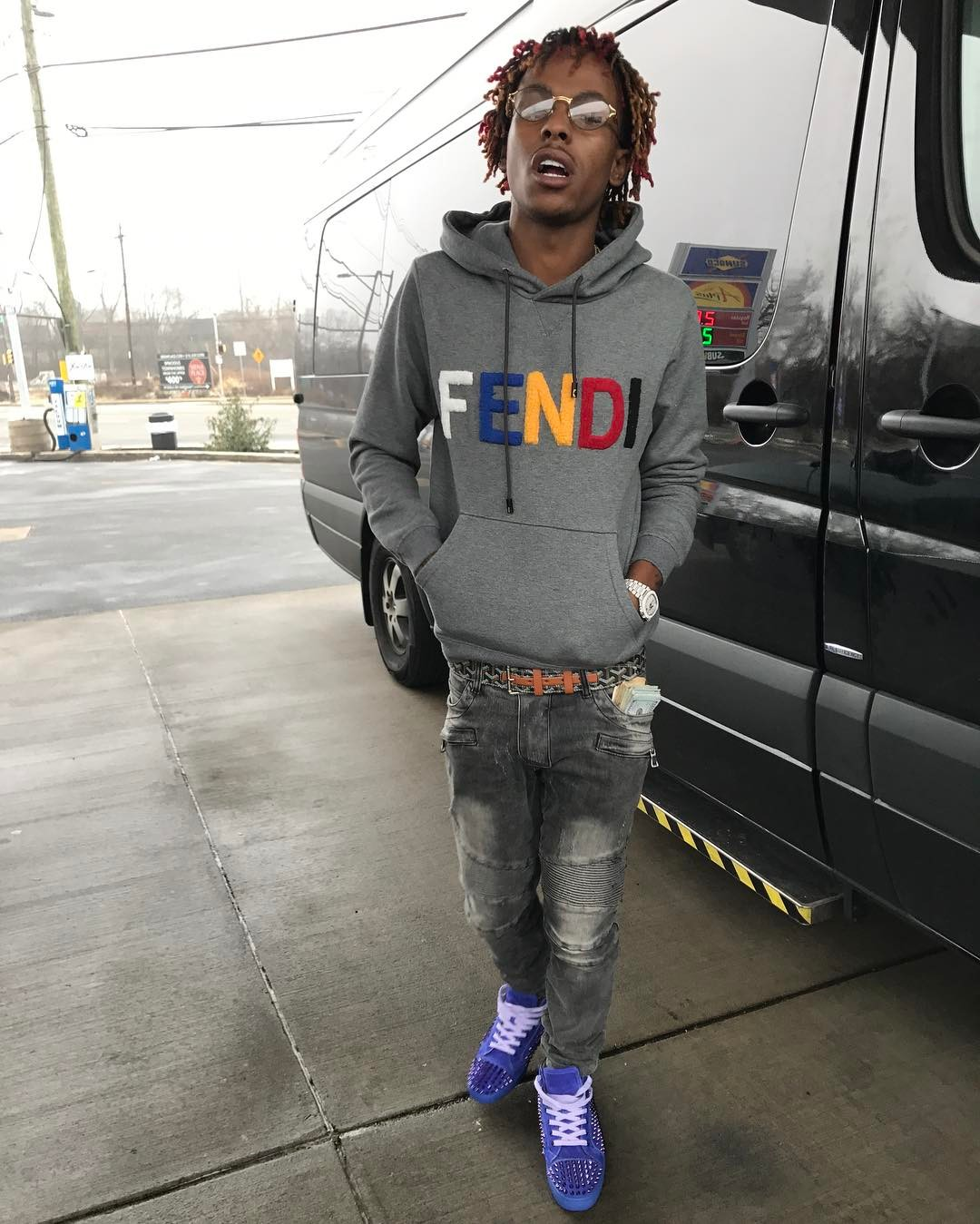 rich-the-kid-fendi-logo-hoodie-iced-out-patek-philippe-nautilus-watch-goyard-belt-balmain-jeans-christian-louboutin-sneakers-on-feet