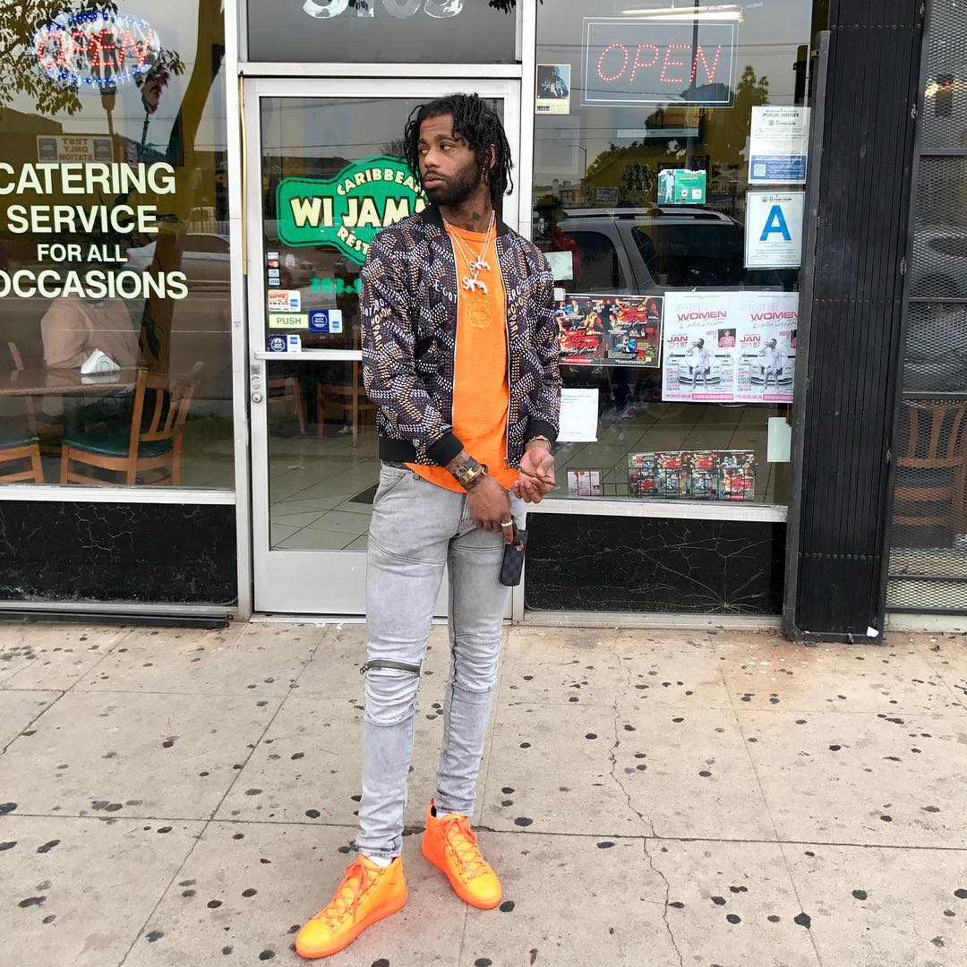 hoodrich-pablo-juan-balenciaga-arena-orange-on-feet-goyard-bomber-jacket-g-star-elwood-jeans