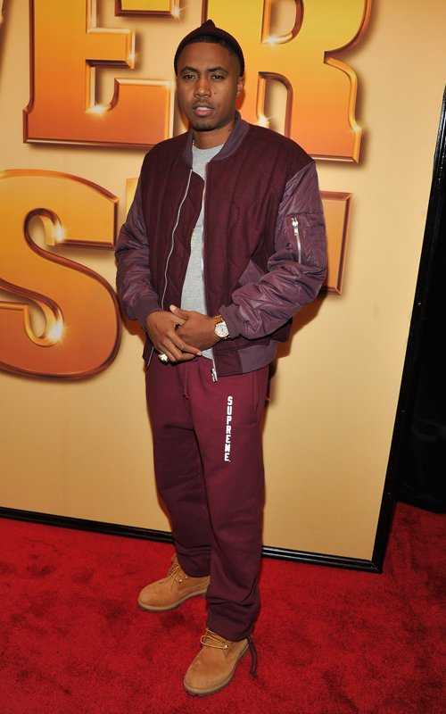 Nas Rocking Supreme Sweatpants And Timberland 10061 Boots